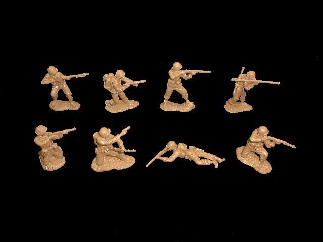 US Infantry set #1 16 figures in 8 poses (tan) <FONT COLOR=#CC0000>(54mm) </FONT>