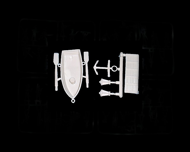 Pirate Ship Accessories -- row boat, lanterns, anchor and plank (white) <FONT COLOR=#CC0000>(54mm) </FONT>