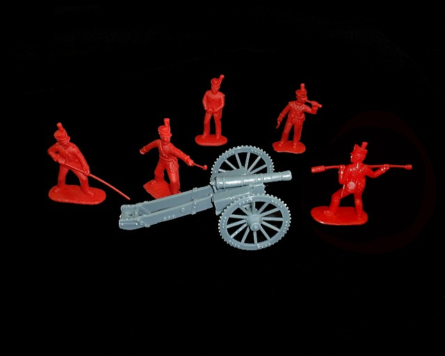 War of 1812 British  Artillery 6 lb. Cannon w/5 figures in 5 poses (red) (5564) <FONT COLOR=#CC0000>(54mm) </FONT>