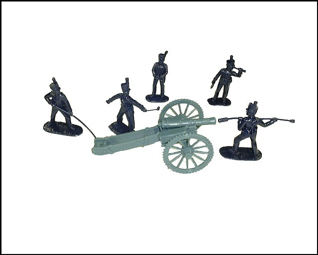 War of 1812 American  Artillery 6 lb. Cannon w/5 figures in 5 poses  (blue) (5565) <FONT COLOR=#CC0000>(54mm) </FONT>