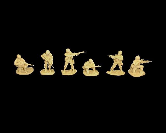 Modern US Infantry set #2 18 figures in 6 poses (tan) (5579)  <FONT COLOR=#CC0000>(54mm) </FONT>