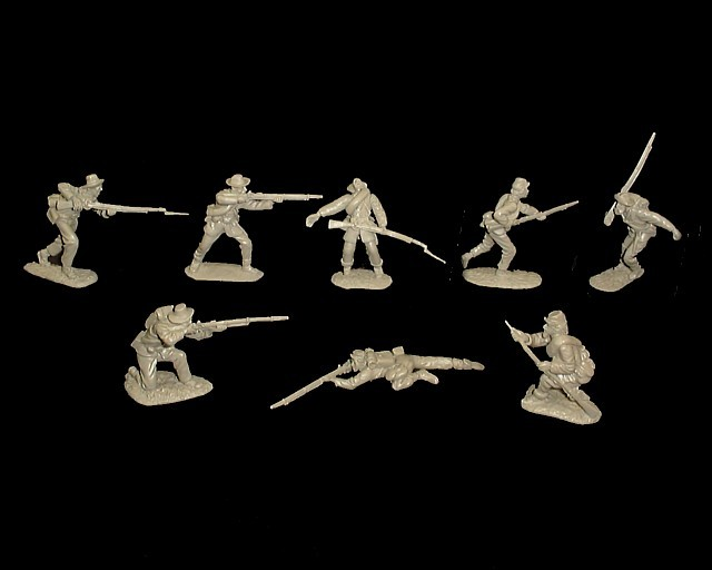 Confederate Infantry 16 figures in 8 poses (gray) <FONT COLOR=#CC0000>(54mm) </FONT>