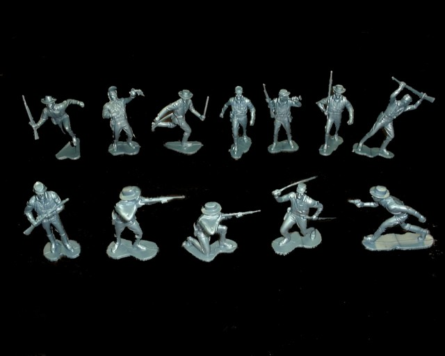 Marx Cavalry afoot 20 in 12 poses (metallic blue) <FONT COLOR=#CC0000>(54mm) </FONT>