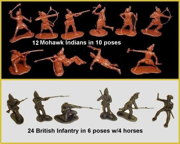 Last of the Mohicans British Infantry & Mohawk Indians -- 40 pieces <FONT COLOR=#CC0000>(54mm) </FONT>