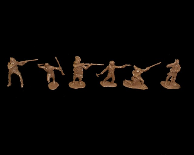 Frontiersmen 12 figures in 6 poses (brown) plus 2 CTS horses  <font color=#CC0000>(54mm) </FONT>