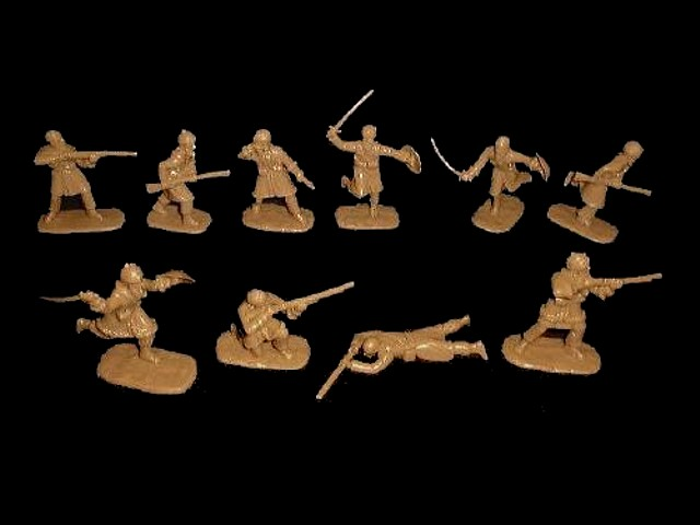 Afghan Tribesmen North West Frontier 20 figures in 10 poses (rust brown)  (5462A) <font color=#CC0000>(54mm) </FONT>