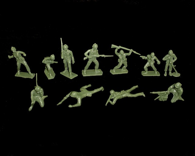 Combat GI's 35 figures in 10 poses (green)  <FONT COLOR=#CC0000>(60mm) </FONT>