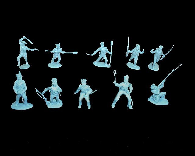 Mexican / Napoleonic Infantry  3rd series 12 figures in 9 poses (light blue) <font color=#CC0000>(54mm) </FONT>