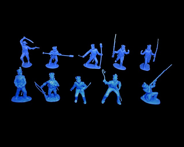 Mexican / Napoleonic Infantry  3rd series 12 figures in 9 poses (blue) <font color=#CC0000>(54mm) </FONT>