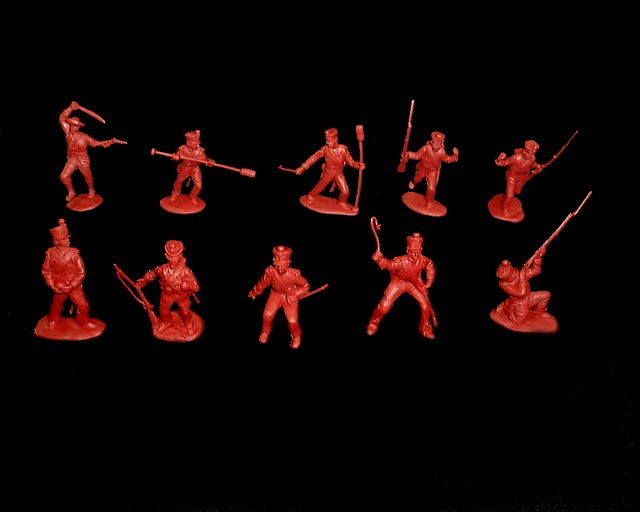 Mexican / Napoleonic Infantry  3rd series 12 figures in 9 poses (red) <font color=#CC0000>(54mm) </FONT>
