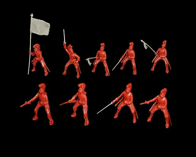 Helmeted Cavalry 12 figures in 9 poses (red) <font color=#CC0000>(54mm) </FONT>