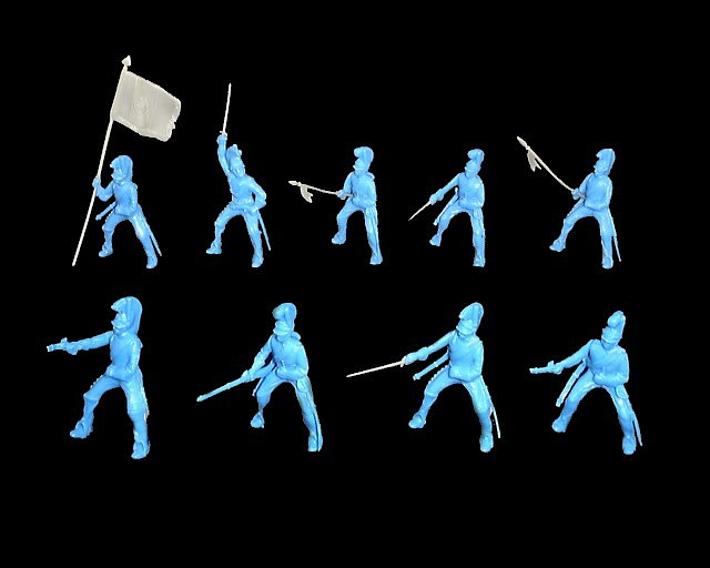 Helmeted Cavalry 12 figures in 9 poses (light blue) <font color=#CC0000>(54mm) </FONT>