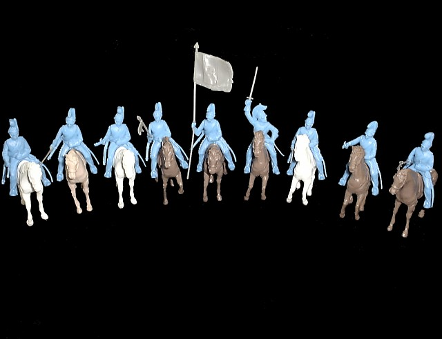 Helmeted Cavalry 12 figures in 9 poses (light blue) w/horses & weapons <FONT COLOR=#CC0000>(54mm) </FONT>