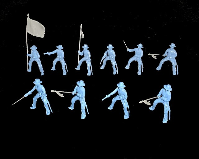 Mexican Round Hat Cavalry 12 figures in 10 poses (light blue) w/weapons <font color=#CC0000>(54mm) </FONT>