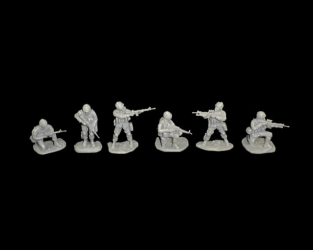 Modern US ARMY set #2 18 figures in 6 poses (gray) (5577)  <FONT COLOR=#CC0000>(54mm) </FONT>