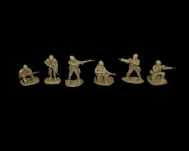 Modern US Infantry set #2 18 figures in 6 poses (od green) (5581)  <FONT COLOR=#CC0000>(54mm) </FONT>