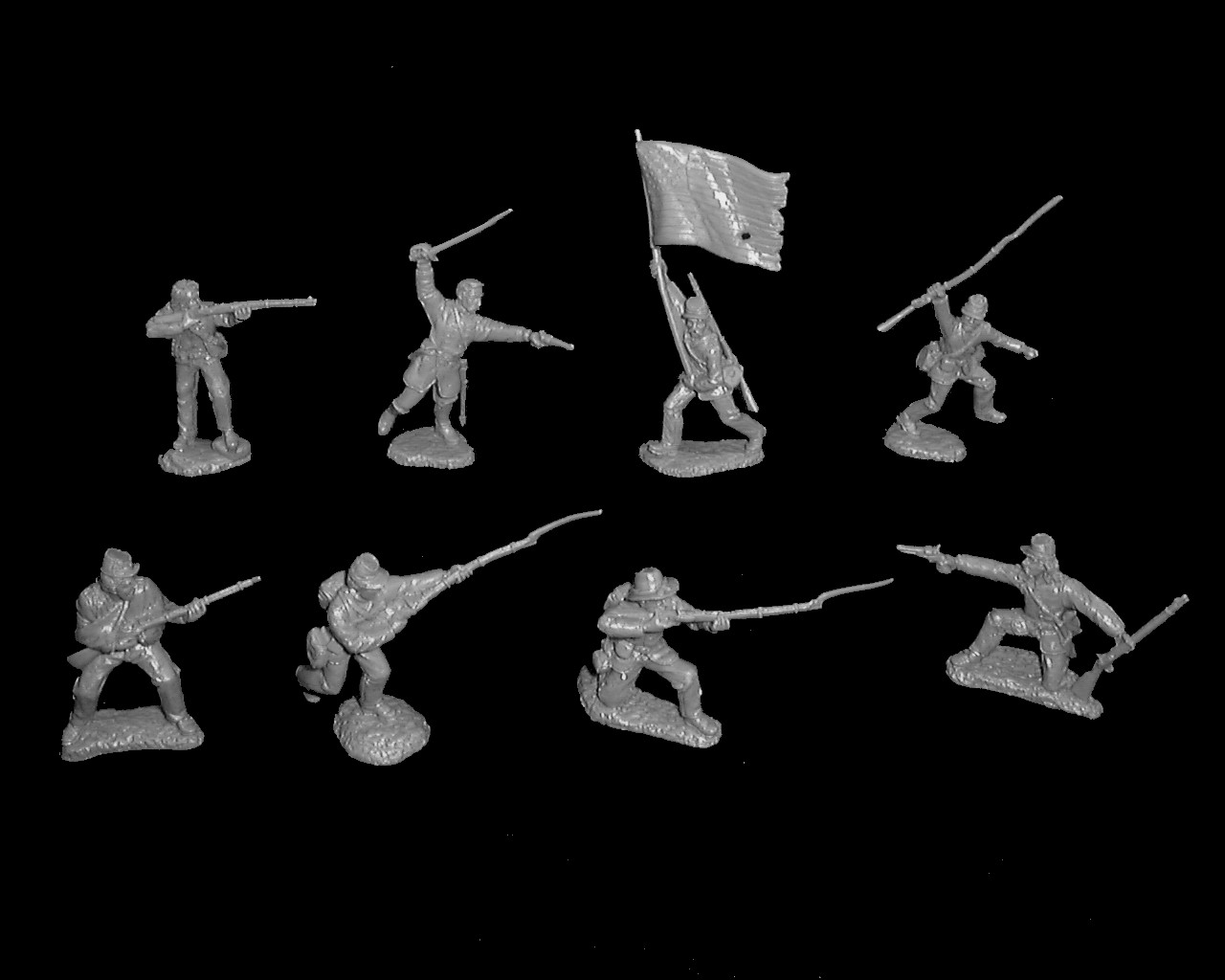 Union Infantry 16 figures in 8 poses (gray)  <font color=#CC0000>(54mm) </FONT>