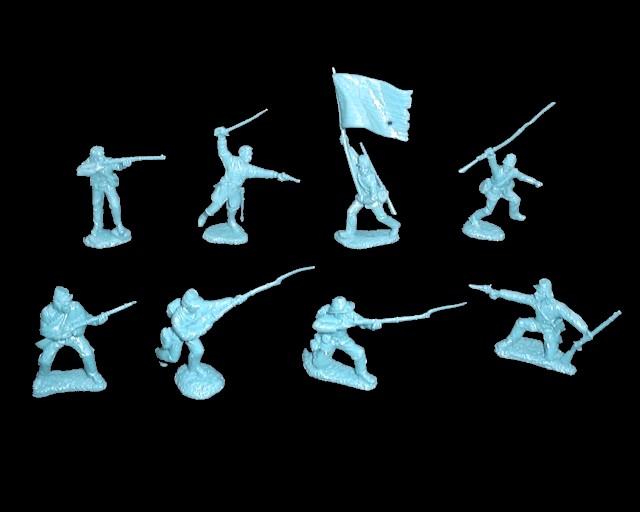 Union Infantry 16 figures in 8 poses (light blue) <font color=#CC0000>(54mm)  </FONT>