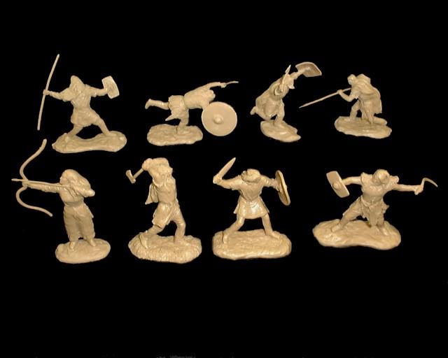 Barbarians 16 in 8 poses (TAN) - 60MM <FONT COLOR=#CC0000>(54mm) </FONT>