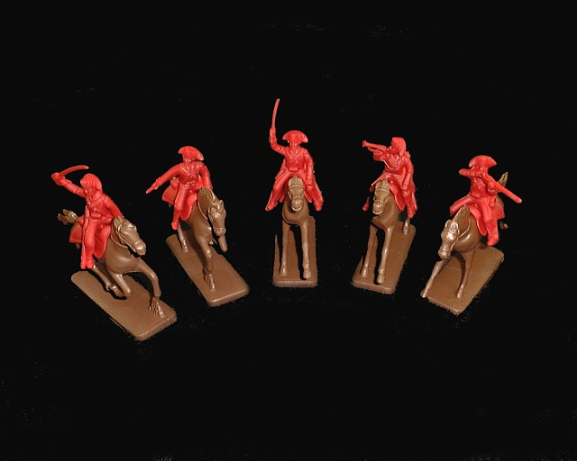 British Cavalry 5 figures in 5 poses (red) (5471) w/5 horses  <FONT COLOR=#CC0000>(54mm) </FONT>