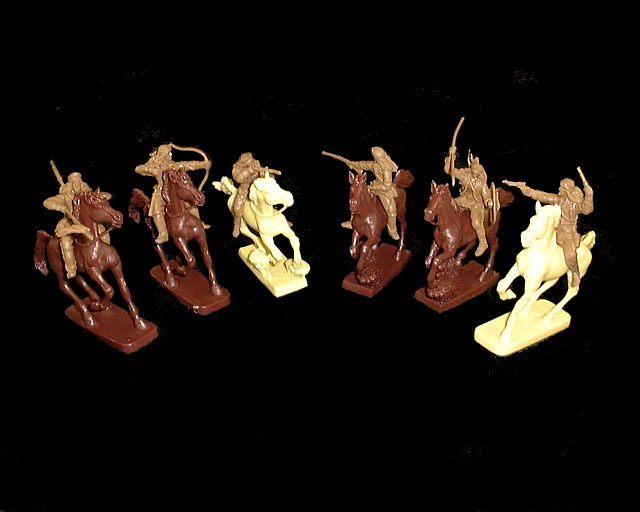 Apache Warriors Mounted  set #3 6 figures in 6 poses (buckskin) w/6 horses <FONT COLOR=#CC0000>(54mm) </FONT>