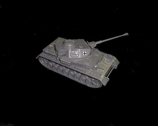WWII German Panzer IV Tank (long barrel)  (gray)  w/insignia <font color=#CC0000>(54mm) </FONT>