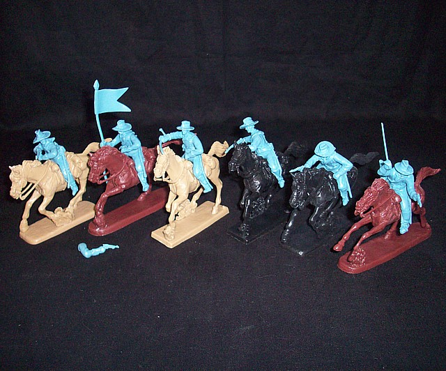 US Cavalry mounted set #3 6 figures in 6 poses (light blue) w/6 horses <FONT COLOR=#CC0000>(54mm) </FONT>