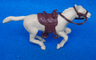 Marx original 60mm running horse (Trigger) in tan with saddle+reins