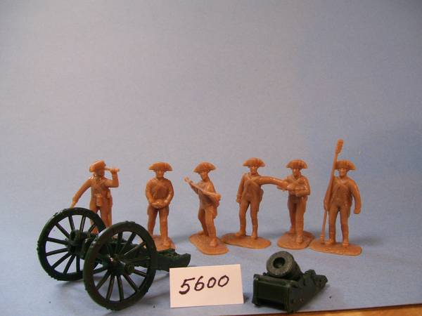 Colonial Artillery 5 figures in 5 poses (tan) w/howitzer & mortar (5600) <FONT COLOR=#CC0000>(54mm) </FONT>