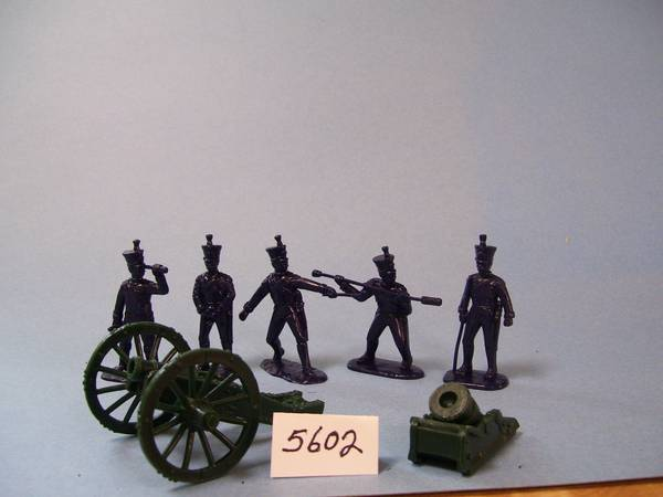 French Line Foot Artillery 5 figuress in 5 poses (blue) w/howitzer & mortar (5602) <FONT COLOR=#CC0000>(54mm) </FONT>