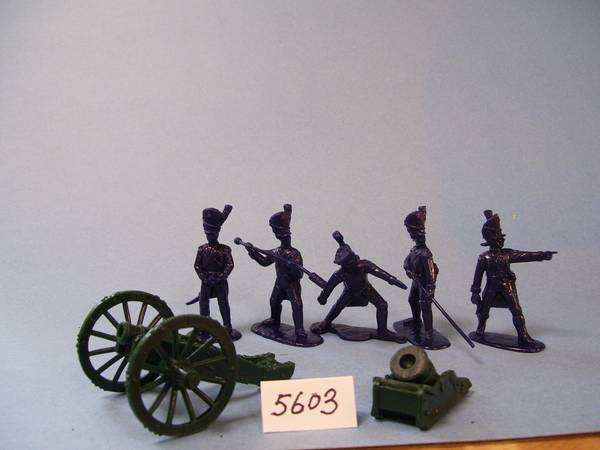 French Old Guard Foot Artillry 5 figuress in 5 poses (blue) w/howitzer & mortar (5603) <FONT COLOR=#CC0000>(54mm) </FONT>