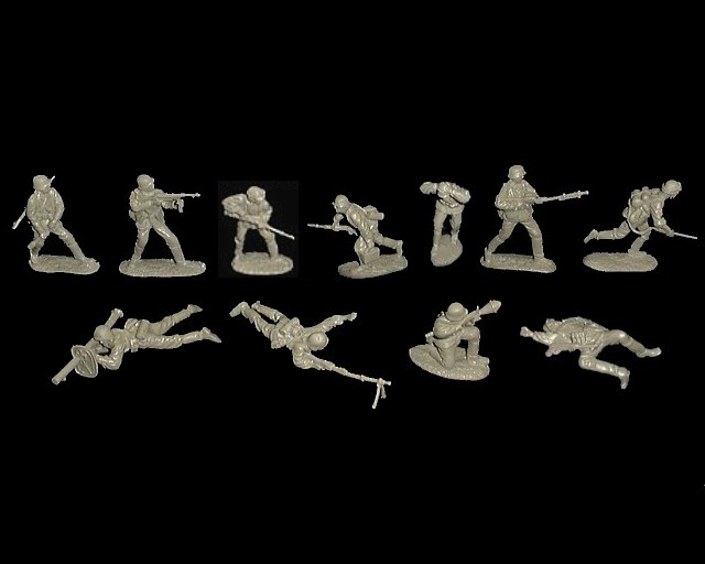 German Assault Squad 11 figures in 11 poses (gray) <FONT COLOR=#CC0000>(54mm) </FONT>