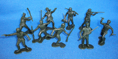 Boonesborough pioners, 25 figures in 9 poses, green (54mm)