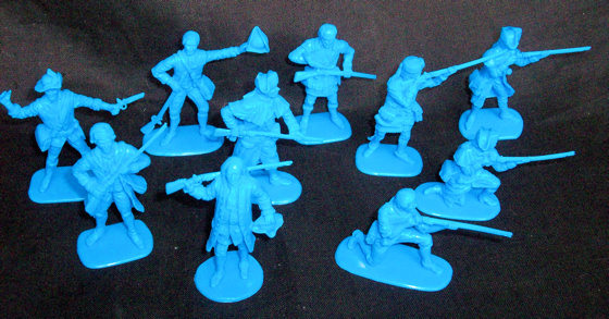 Colonials, 20 figures in 10 poses series 1 (blue) (54mm)