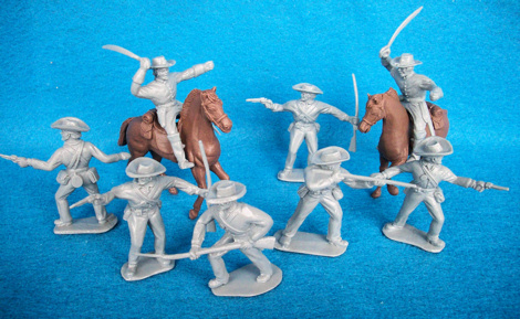 Confederate infantry+cavalry w/horses, 8 figures in 5 poses(54mm)