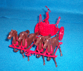 Marx Roman Ben Hur Chariot with driver and 4 horses,red(54mm) </FONT>