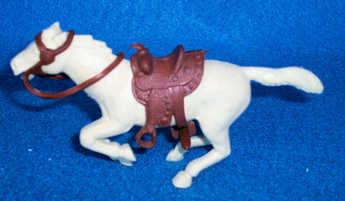 Marx original 60mm galloping western horse, Cream,with saddle + reins