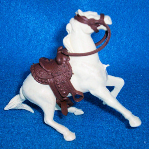 Marx original western halting horse with saddle and reins, Cream, (60MM)