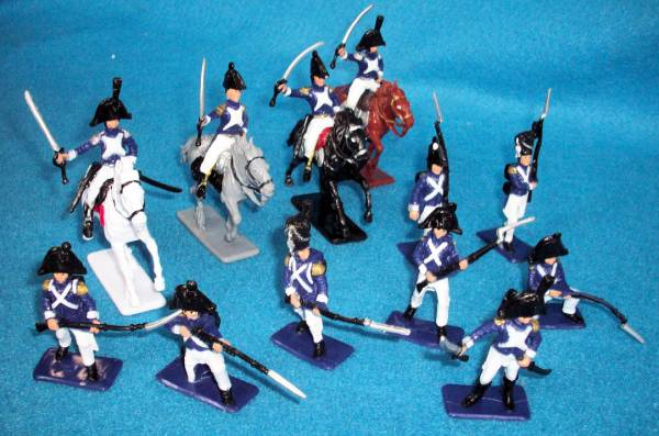Napoleonic French Infantry and Cavalry (60mm) 12 figures plus 4 horses (painted)