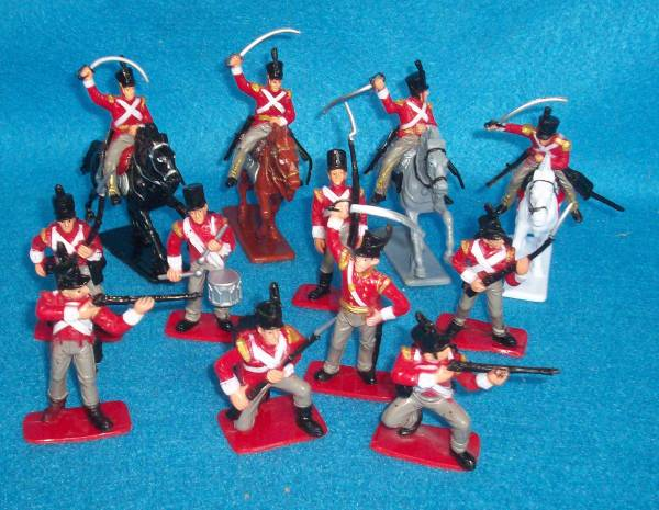 Napoleonic British Infantry and Cavalry 12 figure, with 4 horses (60mm) (painted)