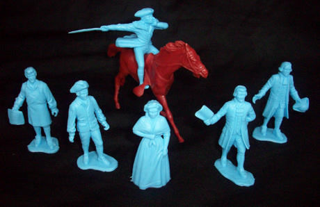 Paul Revere , Johnny Tremain and the Sons of Liberty Colonial Characters 6 poses (blue) +horse <font color=#CC0000>(54mm) </FONT>