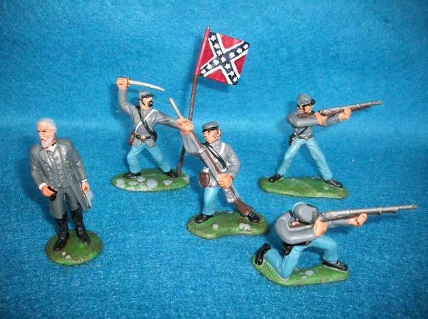 BMC Battle of Appomattox Confederates. 54mm 5 painted figures including Robert E. Lee