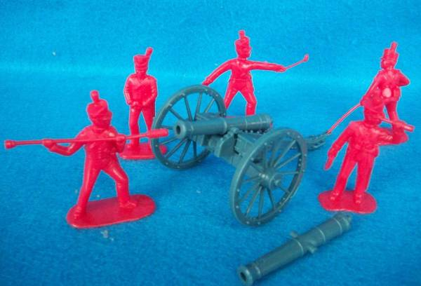 British Royal Artillery 5 in 5 poses (red) and cannon (5431)   <font color=#CC0000>(54mm) </FONT>