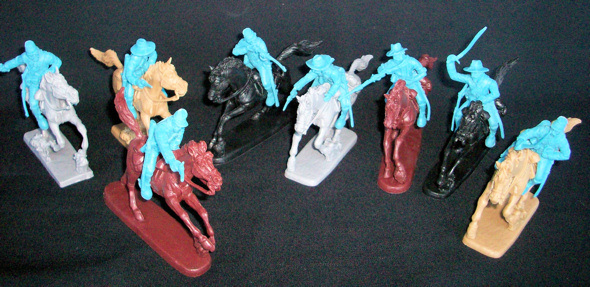 Confederate Cavalry (gray) 8 figures in 8 poses w/8 horses <FONT COLOR=#CC0000>(54mm) </FONT>