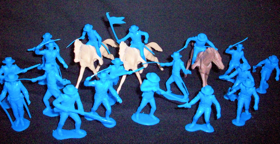 Mexican Round Hat Infantry and Cavalry 23 figures 10 poses+ 3 horses (blue) <font color=#CC0000>(54mm) </FONT>