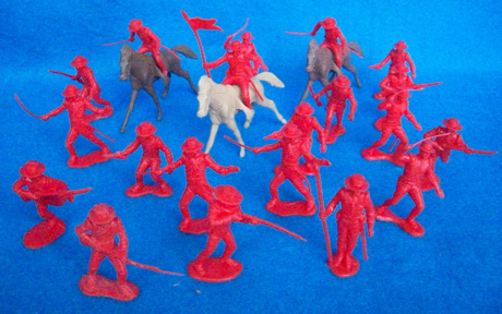 Mexican Round Hat Infantry and Cavalry 20 figures 10 poses (red) + horses(54mm)