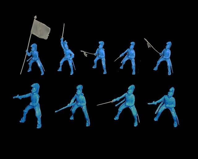 Helmeted Cavalry 12 figures in 9 poses with separate weapons in light blue