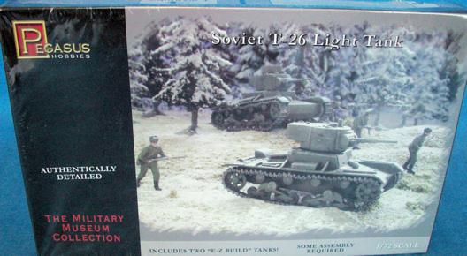 Pegasus WWII Soviet T-26 Light Tank (x2) 1:72 scale (7671)
