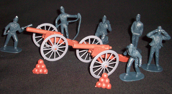 American Civil War Union artillery set, 2 cannon +6 figures