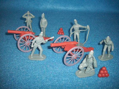 American Civil War Confederate cannons 2 + 6 artillerymen, 54mm ,gray